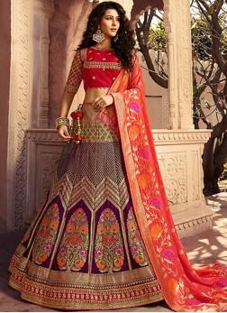 Jacquard Silk Multi Colour Stone Designer Lehenga Choli