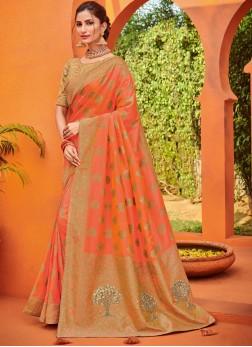 Jacquard Silk Orange Embroidered Traditional Saree