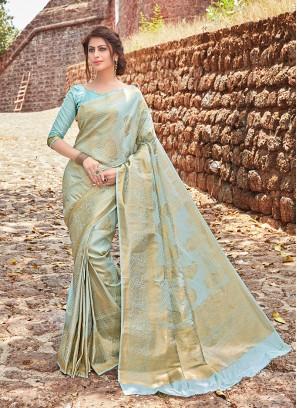 Jacquard Silk Traditional Designer Saree in Aqua Blue