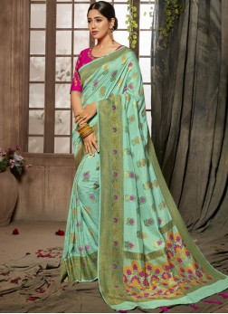 Jacquard Silk Turquoise Zari Designer Traditional Saree