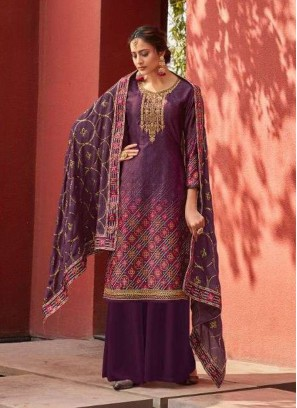 Jam Satin Embroidery Salwar Suit With Palazzo In Wine