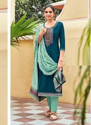 Jamwar Silk Swarovski Work On Salwar Suit In Teal