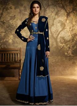 Jennifer Winget Blue Floor Length Anarkali Suit