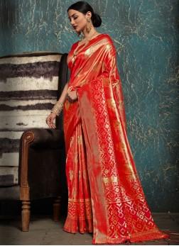 Kanchipuram Silk Traditional Designer Saree in Red