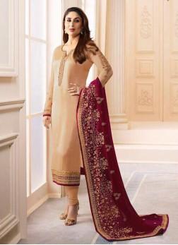 Kareena Kapoor Embroidered Beige Churidar Designer Suit