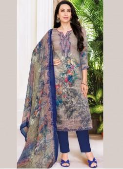 Karishma Kapoor Satin Abstract Print Multi Colour Pant Style Suit