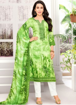Karishma Kapoor Satin Green Abstract Print Pant Style Suit