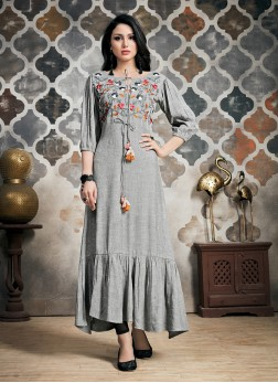 Khadi Grey Party Wear Kurti