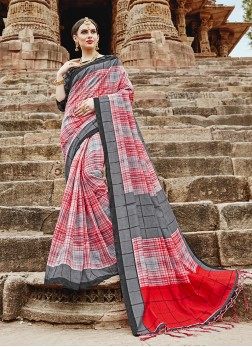 Khadi Silk Abstract Print Multi Colour Printed Saree