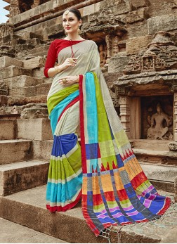 Khadi Silk Multi Colour Abstract Print Printed Saree