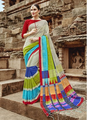 Khadi Silk Multi Colour Abstract Print Printed Saree