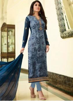 Kritika Kamra Brasso Blue Print Designer Straight Suit