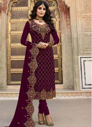 Kritika Kamra Faux Georgette Maroon shalwar kameez