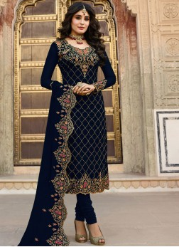 Kritika Kamra Faux Georgette Navy Blue Churidar Designer Suit