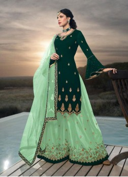 Kurta Gharara Set In Green Georgette Embroidered