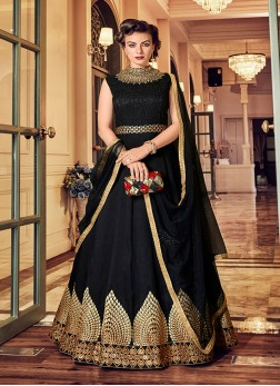 Lace Banglori Silk Floor Length Anarkali Suit in Black