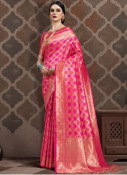 Latest Weaving Hot Pink Art Silk Traditional Designer Saree