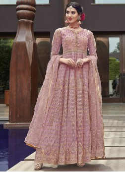 Lavender Embroidered Wedding Anarkali Salwar Suit