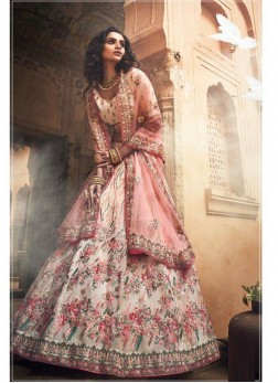 Lavish Off White Reception Designer A Line Lehenga Choli