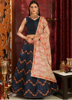 Lehenga Choli Embroidered Art Silk in Navy Blue