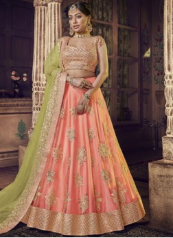 Lehenga Choli Embroidered Net in Peach