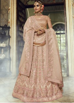 Lehenga Choli Embroidered Organza in Beige
