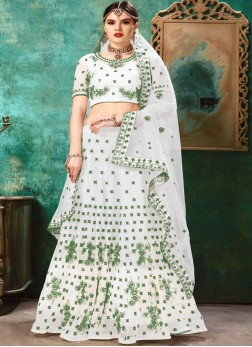Lehenga Choli Resham Net in Green and White