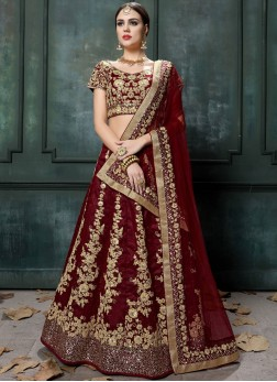 Lehenga Choli Zari Raw Silk in Maroon