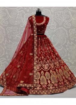 Leheriya Patterns In Velvet Embroidered Work Lehengacholi In Maroon