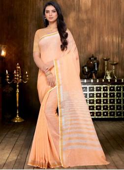 Linen Print Classic Designer Saree in Peach