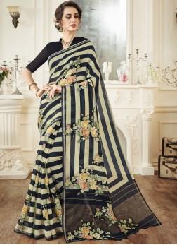 Linen Print Classic Saree in Multi Colour