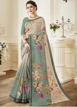 Linen Print Cream Trendy Saree