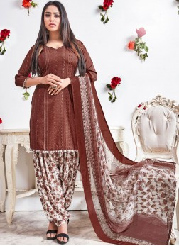 Lively Brown Casual Punjabi Suit