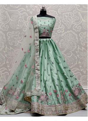 Look-Pretty Bridal Wear Dori & Thread Work On Silk Lehenga Choli In Light Green
