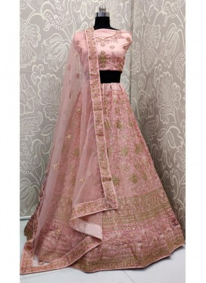Lovable Bridal Pink Embroidery Work on Soft Net With Dupatta