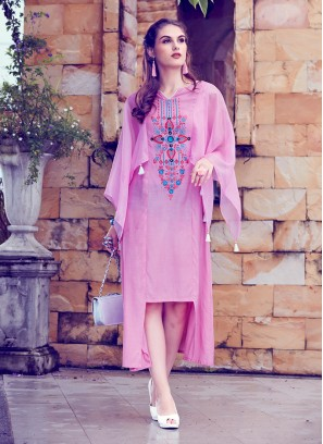 Lovable Fancy Fabric Embroidered Pink Party Wear Kurti