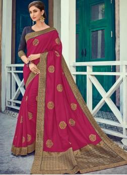 Lovable Magenta Embroidered Art Silk Designer Traditional Saree