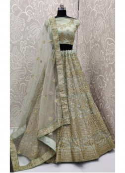 Lovable Sea Green Embroidery Work On Soft Net With Dupatta
