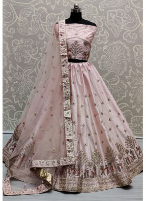 Lovely Baby Pink Sober and Embroidery Work Wedding Wear Lehenga Choli