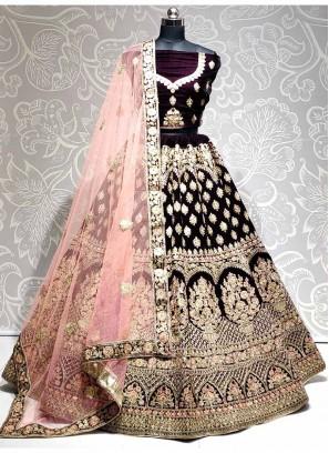 Lovely Bridal Wear Embroidery Work On Lehenga Choli In Purple