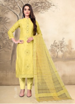 Lovely Embroidery Pant Style Salwar Kameez In Yellow