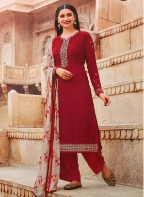 Lovely Festival Look Designer Salwar Suit In Rust - Off White