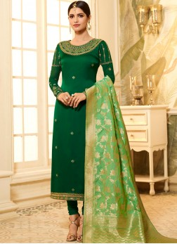Lovely Georgette Satin Stone Green Churidar Designer Suit