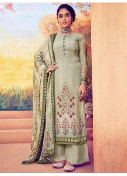 Lovely Resham Thread Work Pant Style Salwar Kameez In Olive