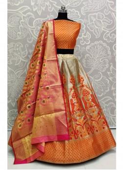 Luminous Orange Bridal Wear Banarasi Silk Lehenga Choli
