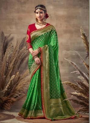 Lustrous Green-Red Siroski Diamond Pallu Pure Soft Silk
