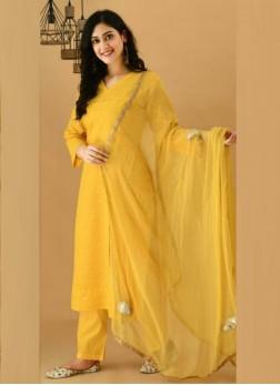 Lustrous Yellow Cotton Kurti & Cotton Pant & Pure Chiffon Handwork Dupatta