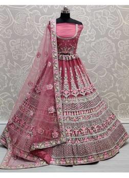 Luxuriant Thread - Zari Work On Net Bridal Lehenga Choli In Pink