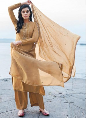 Luxurious Embroidery Georgette Pant Style Salwar Suit In Chocolate