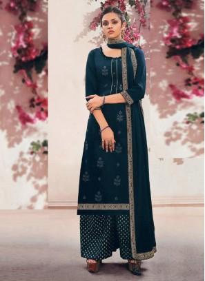 Luxurious Fancy Wear Palazzo Style Salwar Suit On Full Teal